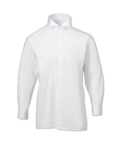 オーダータキシードのシャツ、比翼仕立て
